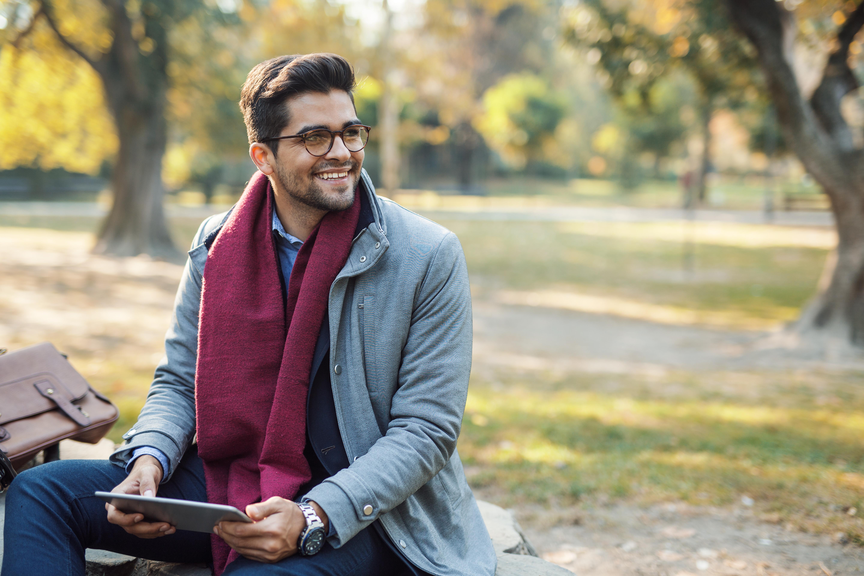 Muslim man in the park