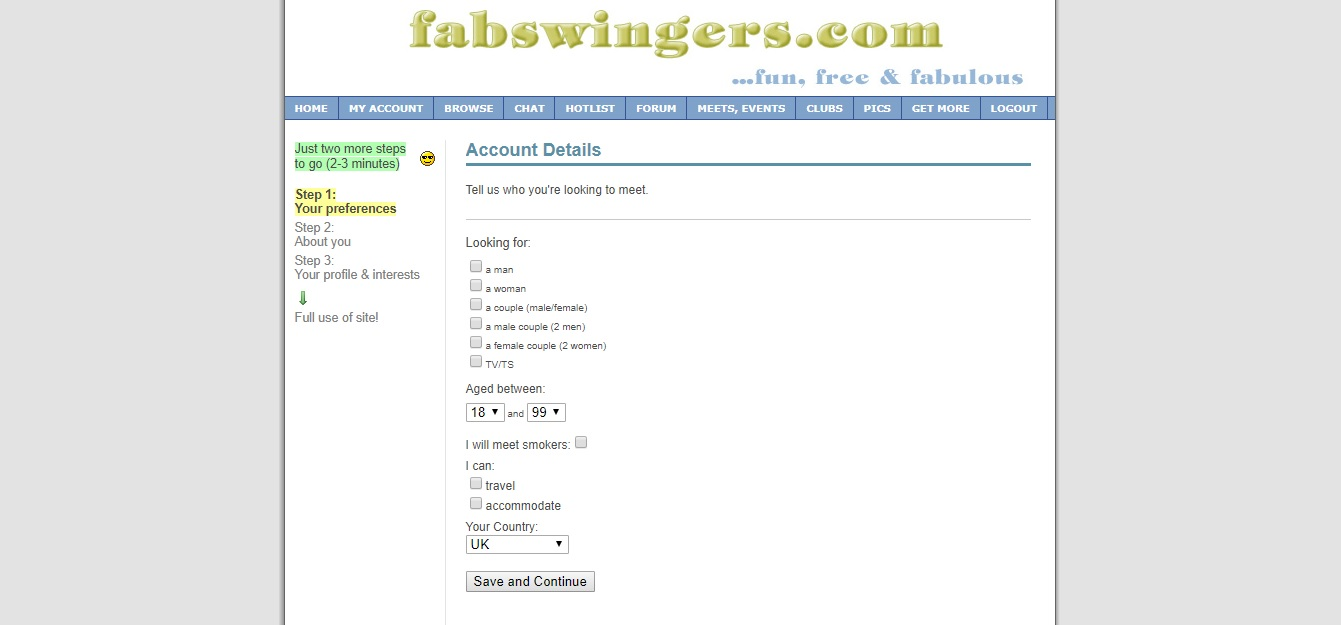 FabSwingers Registration