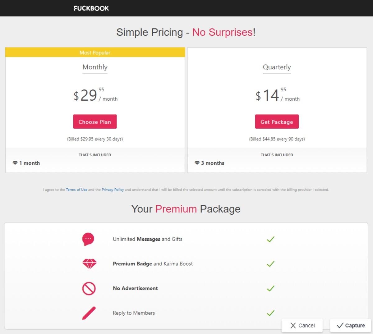 Fuckbook Price Premium