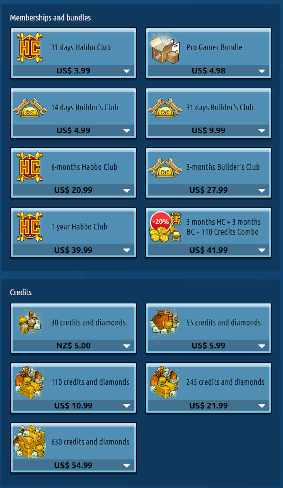 Habbo Prices NZ