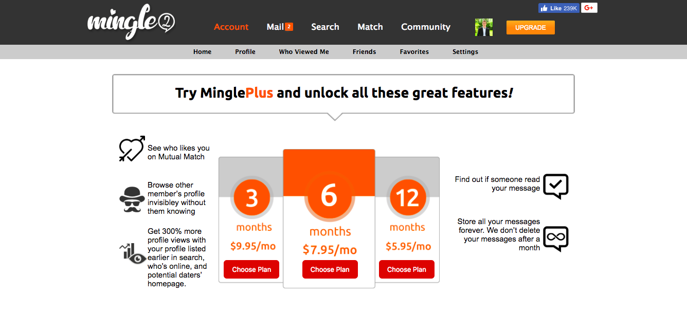 Mingle2 Pricing