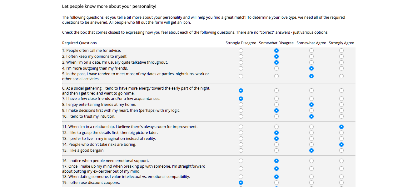 Perfect Match Personality Test