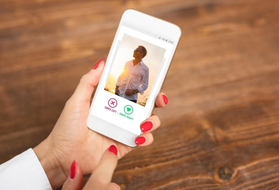 Woman using dating app