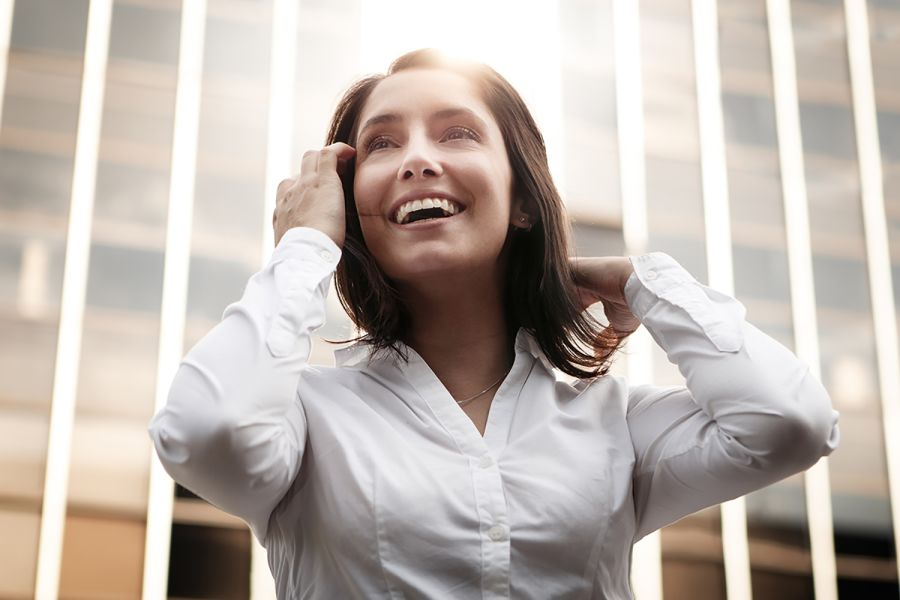 Woman smiling with confidence