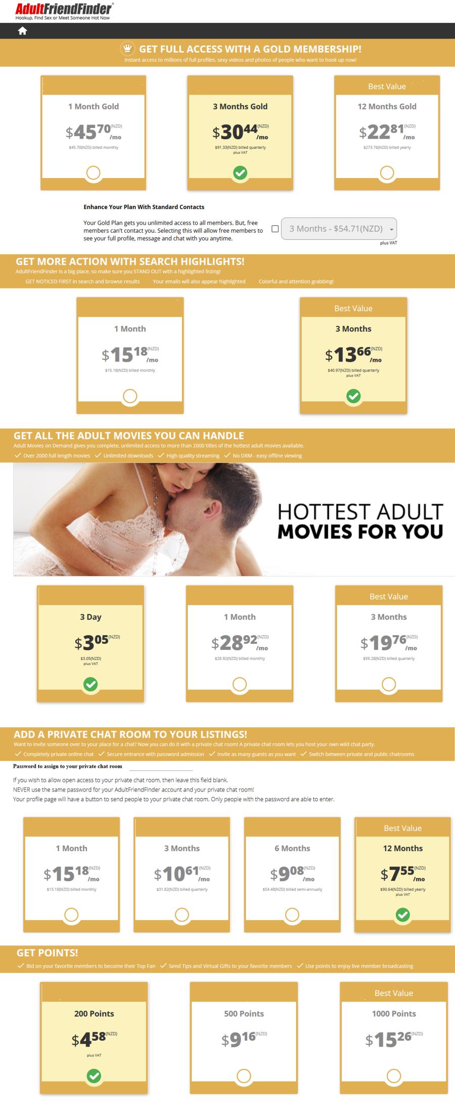 Adultfriendfinder NZ Price