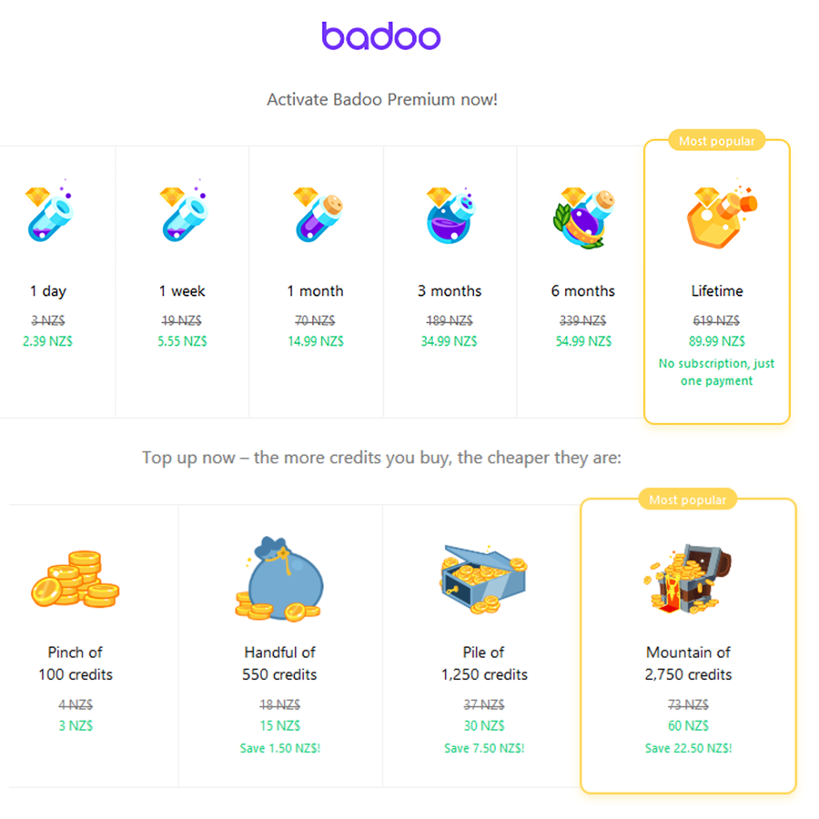 Badoo NZ Price