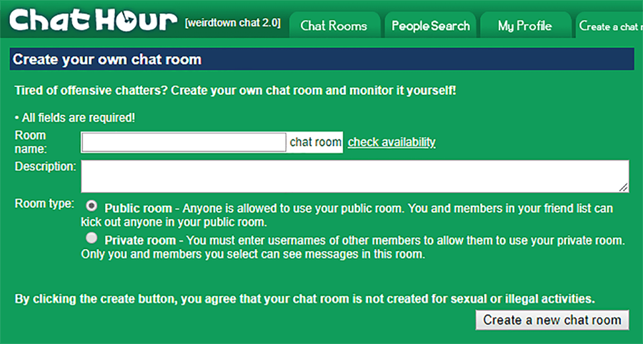 Chat Hour Create Room