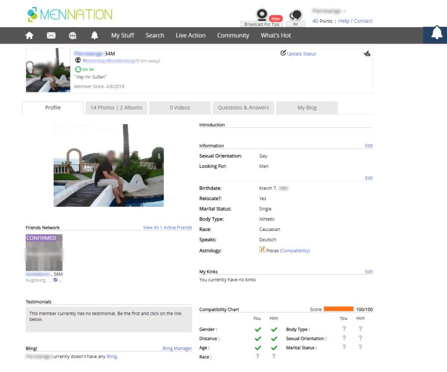 MenNation User Profile